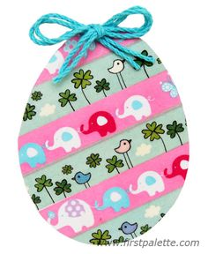 Washi tape Easter egg with diagonal pattern design