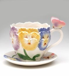 Love this Pansy Cup & Saucer on #zulily! #zulilyfinds