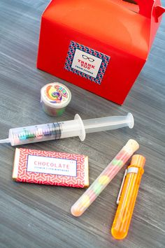 Cool favors at a Mad Scientist party!  See more party ideas at CatchMyParty.com!  #partyideas #boybirthday