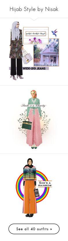 """Hijab Style by Nisak"" by nisak-tf ❤ liked on Polyvore featuring Gucci, River Island, Valentino, Johanna Ortiz, Hermès, Faithfull, Kendra Scott, Nana', Chanel and Comme des Garçons"