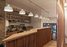 Trade Cafe in London by Twist-in-Architecture, Exposed Copper Pipes, Brick Walls   Remodelista