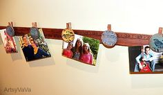 DIY Measuring Stick Picture Holder Tutorial...this is a cute and rustic way to show off your photos, and be able to change them out quickly!
