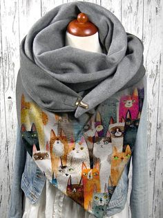 Colorful Cartoon Cute Cats Pattern Soft Personality Neck Protection Keep Warm Scarf - Power Day Sale#newin #newarrivals #justdropped #newseason #fashionintrend Blanket Scarf Outfit, Fall Scarves, Big Scarves, Colorful Scarves, Skinny Scarves, Hanging Scarves, Cat Scarf, Stylish Winter Outfits, Head Scarf Tying