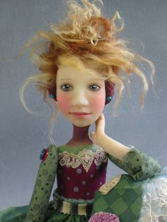 """Brigitte"" Folk Art Doll Patchwork Dress PinkShoes OOAK"