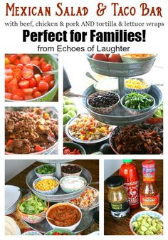 Mexican Salad & Taco Bar-Perfect For Families! - Echoes of Laughter Mexican Salads, Mexican Food Recipes, Mexican Entrees, Party Ideas, Fiesta Party, Taco Salad Bar, Party Buffet, Recipes, Food Recipes