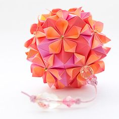 Do I have enough patience to make this??...Beautiful floral origami ball, design by Tomoko Fuse