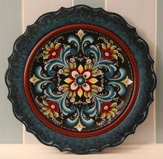 17 1 2 034 Handmade Blue Wooden Norwegian Rosemaling Decorative Plate | eBay