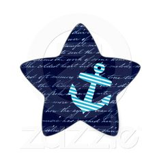 Nautical Stripe anchor handwriting design Stickers--I could try to make a similar design for a shirt for her.
