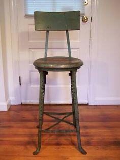 Vintage Industrial Machine Age Adjustable Steel Stool