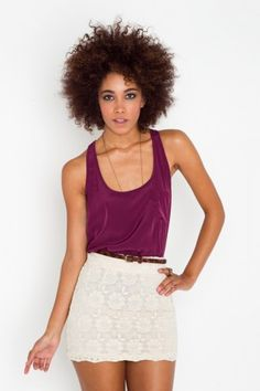 love the white/cream skirt with the jewel purple top