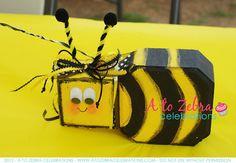 It's a Bumbe Bee Birthday party for a sweet three year old little girl. Yellow, black and white decor make this bumble bee party a. Painted Bricks Crafts, Brick Crafts, Painted Pavers, Cement Pavers, Brick Pavers, Painted Rocks, Hand Painted, Concrete Edging, Bee Crafts