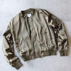 lightweight satin bomber jacket - olive - S / olive