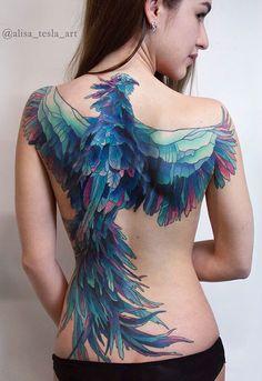 Watercolor Phoenix Tattoo Design For Back Hot Tattoos, Pretty Tattoos, Beautiful Tattoos, Girl Tattoos, Tattoos For Women, Sleeve Tattoos, Tatoos, Phoenix Tattoo Girl, Watercolor Phoenix Tattoo