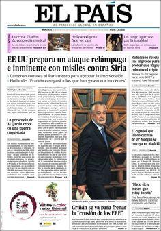 Los Titulares y Portadas de Noticias Destacadas Españolas del 28 de Agosto de 2013 del Diario El País ¿Que le pareció esta Portada de este Diario Español?