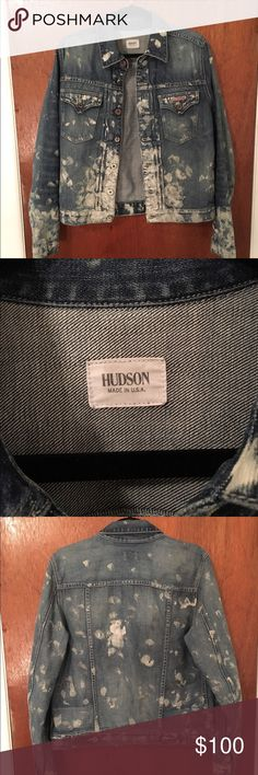Hudson Bleached Denim Jacket Hand bleached - one of a kind! Tag says Large but can fit a Medium. Hudson Jeans Jackets & Coats Jean Jackets