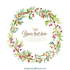 More than a million free vectors, PSD, photos and free icons. Exclusive freebies and all graphic resources that you need for your projects Watercolor Projects, Wreath Watercolor, Watercolor Flowers, Botanical Drawings, Botanical Prints, Corona Floral, Wreath Drawing, Plant Illustration, Christmas Clipart