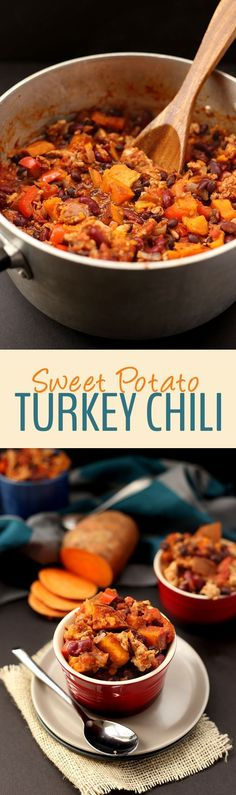 Lightened-up chili using ground turkey and sweet potato! This Sweet Potato Turkey Chili can be made in one-pot and will feed you all fall and winter long! dinner winter Sweet Potato Turkey Chili - The Healthy Maven Crockpot Recipes, Soup Recipes, Cooking Recipes, Beans Recipes, I Love Food, Good Food, Yummy Food, Healthy Cooking, Gastronomia