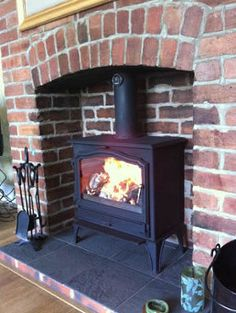 brick chimney and woodburner - Google Search