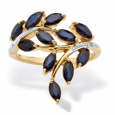 Marquise-cut sapphires and dazzling diamond accents are set in a lovely leaf design in this gorgeous ring. The piece is crafted of 18-karat yellow gold over sterling silver with a polished finish.