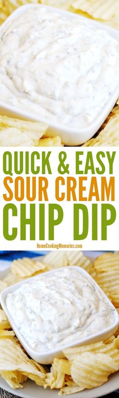 Quick & Easy Sour Cream Chip Dip recipe for your next party get-together or game day. It uses a full container of sour cream plus four simple pantry ingredients: dried minced onion dried parsley dill weed and garlic salt. Yummy Appetizers, Appetizer Recipes, Sour Cream Chip Dip, Hummus, Chip Dip Recipes, Chip Dips, Cream Recipes, Sauce Recipes, Easy Party Food