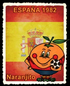 La Copa Mundial de Fútbol celebrada en España 1982 presentó un personaje original como mascota: Naranjito. Él está representado por una naranja, fruto típico de las regiones de Valencia y Murcia. Viste el uniforma de la selección española y carga en su brazo izquierdo el balón tradicional blanco con pentágonos en negro. Football Jerseys, Football Players, World Cup Logo, Nostalgia, History, Retro, Valencia, Posters, Vintage