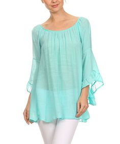 This Mint Sheer Bell-Sleeve Tunic is perfect! #zulilyfinds