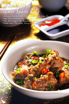 Slow Cooker Taosi Spare Ribs Fond of dimsum? Try this classic Chinese spare rib dimsum Rib Recipes, Slow Cooker Recipes, Asian Recipes, Cooking Recipes, Chinese Recipes, Ethnic Recipes, Marinated Pork Ribs, Spareribs Recipe, Gluten Free Chinese