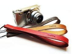 camera strap / handy strap/ red beige dark brown by Lusikka