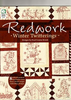 Redwork Winter Twitterings - entire book, page by page
