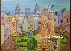 """Iustración de Lucía Martín para el cuento """" Ciudad de  los valores"""" de J.Nieto"""