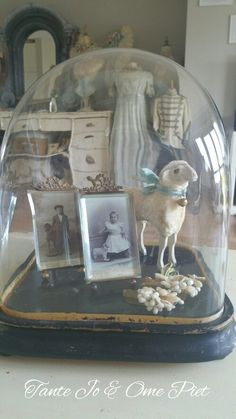 https://m.facebook.com/tantejoenomepiet/glass cloche with vintage photos and lamb inside