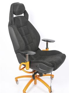 Not A CHEAP COPY, This is the REAL THING! From a 2012 Lamborghini Gallardo Superleggera custom order, this is a brand new sport seat in black Alcantara with white trim and inserts was delivered to the More