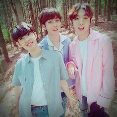 M.O.N.T under FM Entertainment, from l>r Bitsaeon(Kim Sangyeon), Roda(Shin Jungmin) & Narachan(Jung Hyungwoo) Rapper, Fandom, Kpop, Beautiful Moments, Boy Groups, Entertainment, Mini, Boys, Women