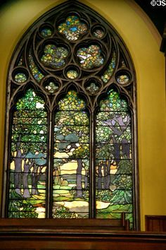 Forest scene stained glass windows by Louis Comfort Tiffany & Edward Burne-Jones in Second Presbyterian Church. Chicago, IL.