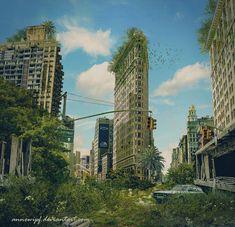 Post Apocalyptic Scene by annewipf on DeviantArt in 2020 Apocalypse Aesthetic, Apocalypse Art, Fantasy Art Landscapes, Fantasy Landscape, Cyberpunk, Apocalypse Landscape, Post Apocalyptic City, Fantasy Posters, Wonderful Day