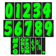 "CAR DEALER Window Number Stickers 7.5"" Vinyl 48 Dozen Windshield Green Black #CarLotPromotions"
