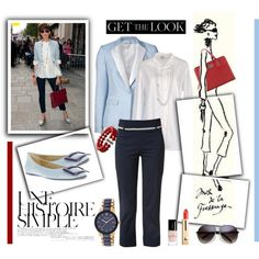 Get the Look: Celebrity Street Style Inès de la Fressange by saphiboutik on Polyvore featuring mode, Coast + Weber + Ahaus, Veronica Beard, Raxevsky, Roger Vivier, Nicoli, Kenneth Cole, David Yurman, Guerlain and Une