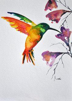 ORIGINAL peinture à l'aquarelle oiseau battant par ArtCornerShop