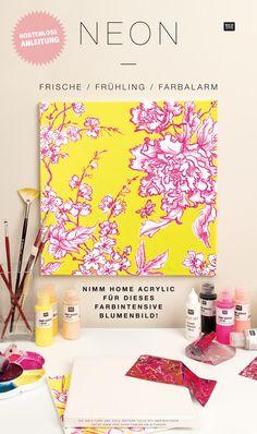 Malt euch ein tolles Kirschblütenbild in kräftigen Neonfarben und Metallic-Akzenten. Wie es geht, zeigen wir euch in unserer kostenlosen Anleitung. #keilrahmen #gestalten #kunst #acrylfarbe #wanddeko #bilder #malen