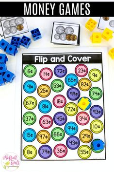 Counting Coins: Flip and Cover- Flip a card, add the coins and cover the value that matches. Fun money math center for First Grade! Counting Money Games, Money Math Games, Money Activities, Counting Coins, 1st Grade Math, First Grade, Second Grade, Grade 2, Math Stations