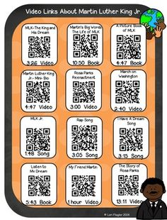 Spice up your study of Martin Luther King with these 12 QR Codes and Hyperlinks containing 12 video, song, and book links about Dr. Martin Luther Day, Library Themes, Coding For Kids, School Holidays, Holiday Activities, Classroom Themes, Winter Theme, Listening Centers, Code Pokemon