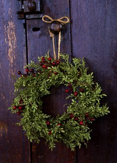 Prim Christmas Wreath...tied with a string.