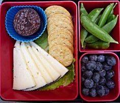Cheese and Crackers Bento:  1 oz Iberico Cheese: 120 Cal 8 Multi-Grain Crackers: 50 Cal 1/2 C Sugar Snap Peas: 20 Cal 1/2 Cup Blueberries: 40 Cal 1 Mini Brownie: 67 Cal Total: 297 Calories! #laptoplunches