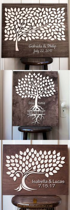 This Listing is for a Wedding Guest Book for Signing. Your guests sign the leaves and then you are able to hang this beautiful wall art keepsake to enjoy for years to come.  giftedoccasion.com #gift #gifts #wedding #weddinggift #woodengift #woodensign #board #sign