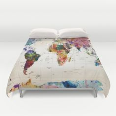 Abstract watercolor world map duvet cover art pinterest duvet abstract watercolor world map duvet cover art pinterest duvet and room gumiabroncs Gallery