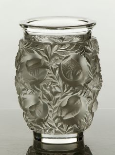 "Lalique ""Bagatelle,"" vase, clear and frosted glass, with sparrows and leaf decoration, signed underside ""Lalique, France,"""