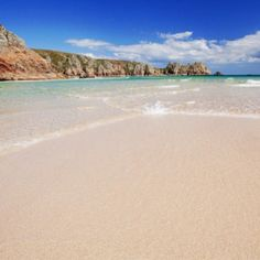 Porthcurno beach, a funnel of golden sand, caught between granite cliffs Types Of Photography, Candid Photography, Landscape Photography, Beach Images, Beach Pictures, Cool Pictures, British Beaches, Uk Beaches, British Seaside