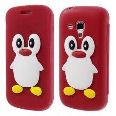 Galaxy Trend punainen kannellinen pingviini silikonisuojus.