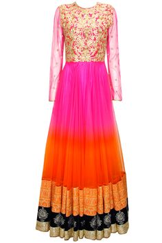 Pink to orange shaded gota applique jalabiya dress available only at Pernia's Pop-Up Shop.