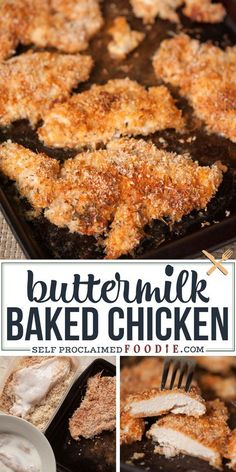 This moist and tender Buttermilk Baked Chicken is not only quick and easy to make for family dinner, but it is the perfect new comfort food. #chicken #buttermilk #baked #oven #crispy #moist #tender #recipe Ground Chicken Recipes, Easy Chicken Dinner Recipes, Best Chicken Recipes, Appetizer Recipes, Meat Appetizers, Easy Healthy Recipes, Quick Easy Meals, Thai Recipes, Pie Recipes